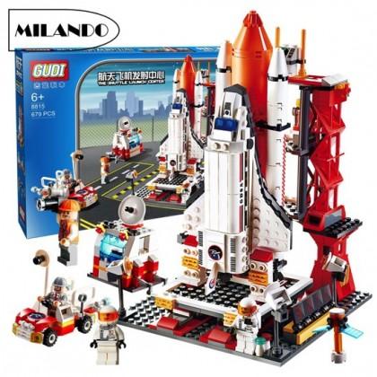 (679 Pieces) Gudi 8815 Aerospace Small Particles Building Blocks Rocket Launch Center Bricks Toy Toys (Rocket)