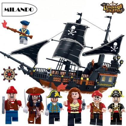 (652 Pieces) GUDI 9115 652pcs Building Blocks Brick Children Educational Toys Toy (Black Pearl Ship)