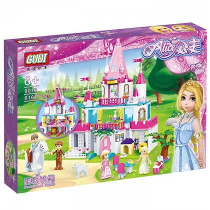 (616 Pieces) GUDI 9013 Girl Princess Sweet Pink Castle Building Blocks Sets Brick Play Toy Toys (Castle)