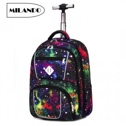 MILANDO 18-inch Kid Children Trolley Travel Laptop Cabin Luggage School Bag Backpack Beg Sekolah (Type 13)