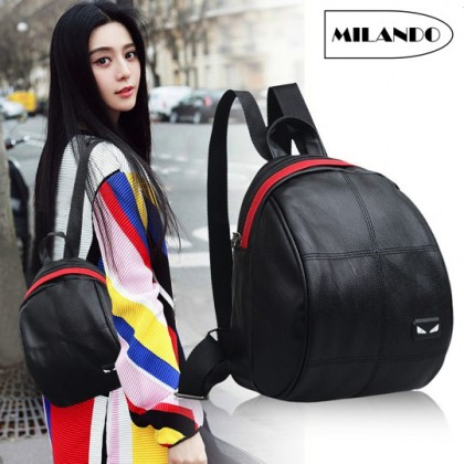 MILANDO Korean Stylist Ladies Women PU Leather Backpack Casual Rucksack Bag (Type 10: Monster Eye)