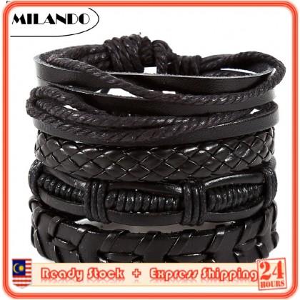 (4 Pcs) MILANDO Men Mix 4 Wrap Bracelet Vintage Multilayer Wristband PU Leather Bracelet (Type 1)