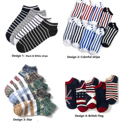 (5 Pairs) MILANDO Men Unisex Low Ankle Sport Cotton Men Sock Socks Stoking