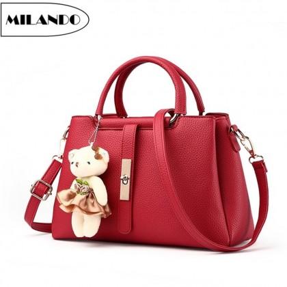 MILANDO Ladies Women PU Leather Handbag Tote Sling Bag Beg Tangan Wanita (Type 20)