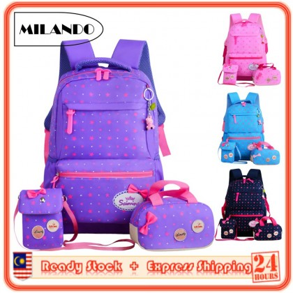Set of 3 Kid Girl Polka Dots Backpack School Bag with Tote and Sling Bag _Type 3