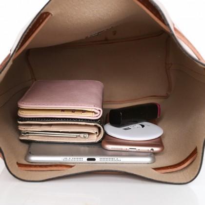 MILANDO PU Leather Female Bag Set 3 in 1 Bag Shoulder Bag Drawstring Bucket Bag (Type 32)