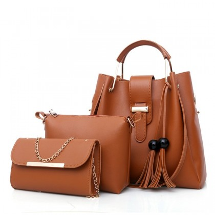 MILANDO PU Leather Female Bag Set 3 in 1 Handbag Women's Shoulder Bag (Type 34)