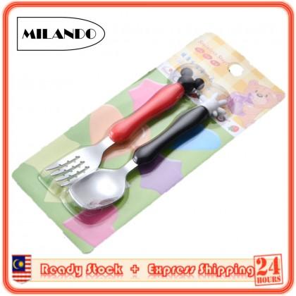 (2 Pcs) MILANDO Toddler Self Feeding Utensil Set Micky Stainless Steel Kids Cutlery Set  Spoon Fork Set (Type 1)