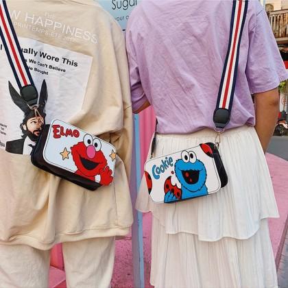 MILANDO Kid Girl PU Leather Crossbody Purse Elmo Cookies Monster for Kid Sling Bag (Type 7)