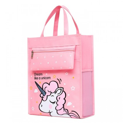 MILANDO Kid Tuition School Bag Carry Bag Cute Cartoon For Kids (Type 6: Unicorn)