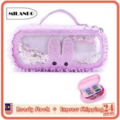 MILANDO Children Kid Zipper Student Pencil Stationery Case Multi Compartment Pencil Box (Type 5: Rabbit)
