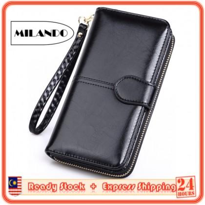 MILANDO Large Capacity Women Wallet Oil Wax Leather Ladies Handbag Zipper Coin Purse Phone Bag (Type 4)