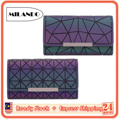 MILANDO Geometric Luminous Women Long Wallet, Holographic Reflective Credit Card Holder Clutch with Zipper Pocket (Type 6)