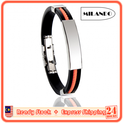 MILANDO Men DIY Lettering Fashion Bracelet Wristband Titanium Steel Jewelry Gift For Men (Type 5)