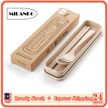 MILANDO Cutlery Set Portable Cutlery  Three-Piece Set Fork Spoon Chopsticks Set (Type 5)