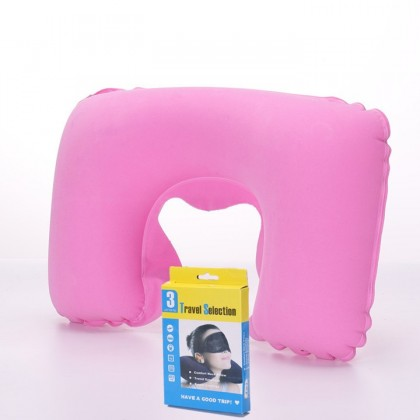MILANDO Inflatable Travel Pillow PVC Flocking Cloth Cover Travel Neck Pillow Environmental Protection (Type 6)