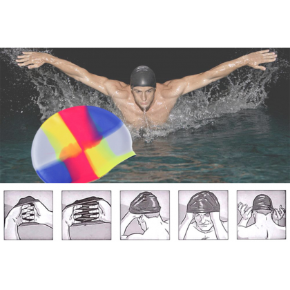 MILANDO Adult Sport Soft Silicon Swim Cap Colourful Waterproof Stretchable Swim Hat Swimming Cap (Type 3)