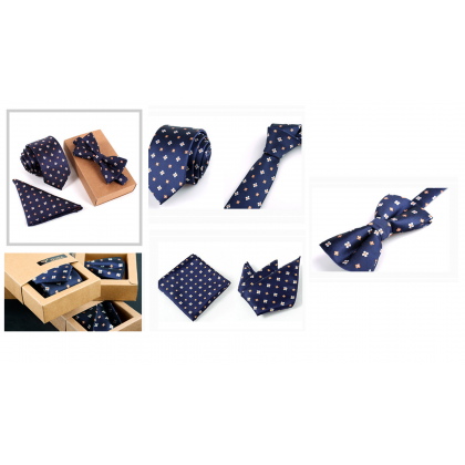 MILANDO 3 Pcs Men Classic Tie Suit Slim Necktie Set Bow Pocket Square Handkercheif Men Gift Set (Type 2)