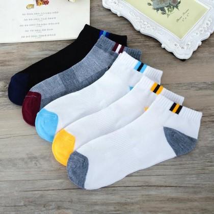 (5 Pairs) MILANDO Unisex Low Ankle Sport Cotton Men Women Sock Socks Stoking Lelaki (Type 16)
