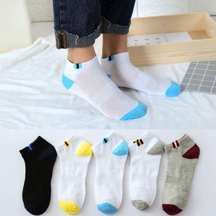 (5 Pairs) MILANDO Unisex Low Ankle Sport Cotton Men Women Sock Socks Stoking Lelaki (Type 16)