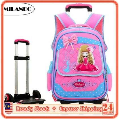 MILANDO 6-Wheel Kid Children Trolley School Bag Backpack Cat Design Trolley Bag (Type 9: Princess)