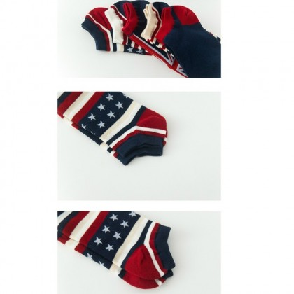 (5 Pairs) Unisex Low Ankle Sport Cotton Socks Men Sock Stoking (British Flag)