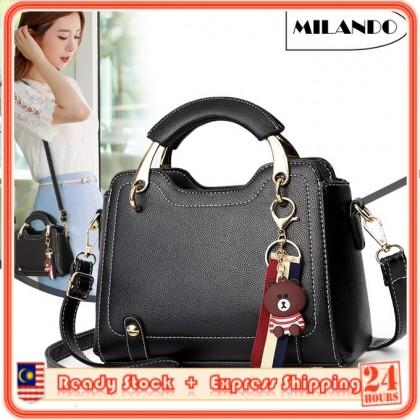 MILANDO Ladies Women PU Leather Handbag Tote Sling Bag Handbeg Beg Wanita (T16)