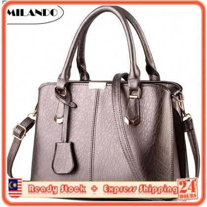 MILANDO Ladies Women PU Leather Handbag Tote Sling Bag Handbeg Beg Wanita (Type 7)