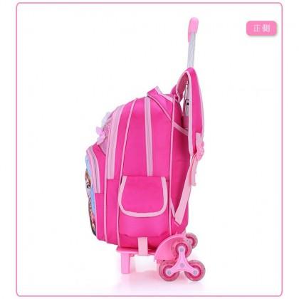 MILANDO 6-Wheel Kid Children Trolley School Bag Backpack Trolley Bag for Staircase Beg Sekolah (Type 10: Frozen)