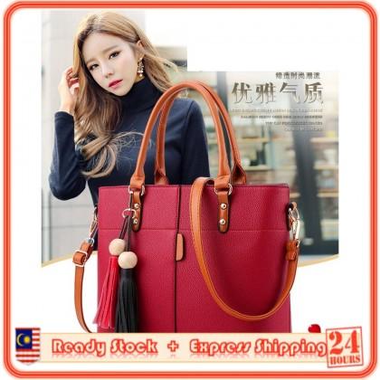 MILANDO Ladies Women PU Leather Handbag Tote Sling Bag Handbeg Beg Wanita (Type 11)