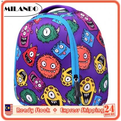 MILANDO Kid Neoprene 3D Monster Printed Waterproof School Backpacks Bag