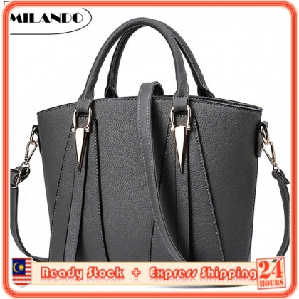 MILANDO Ladies Women PU Leather Handbag Tote Sling Bag Handbeg Beg Wanita T 14