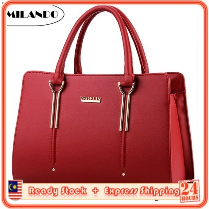 MILANDO Ladies Women PU Leather Handbag Tote Sling Bag Handbeg Beg Wanita (Type 17)