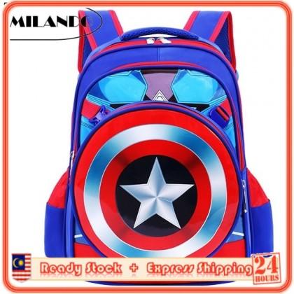 MILANDO Kid Boy Captain America Design School Bag Backpack + Sling Bag (Type 2)