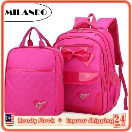 MILANDO 2 set Kid Girl Quilt Ribbon School Backpack FREE Tuition Bag Beg Sekolah