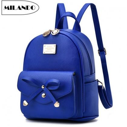 MILANDO Women Ladies PU Leather Backpack Rucksack Bag Handbeg wanita (Type 8)