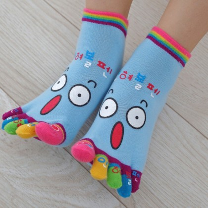 (5 Pairs) MILANDO Ladies Emoji Sport Yoga 5-Toe Cotton Finger Socks Sock