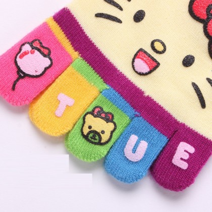 (5 Pairs) Women Ladies Sport Casual Cotton Finger 5-Toe Socks Sock (Hello Kitty)