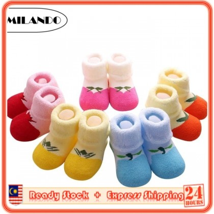 (5 Pairs) MILANDO Newborn Baby Thick Colourful High Quality Sock Socks Walkers